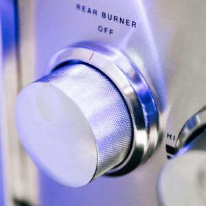 Close-up of Alturi Blue Lit Knobs - Rear Burner Control Knob