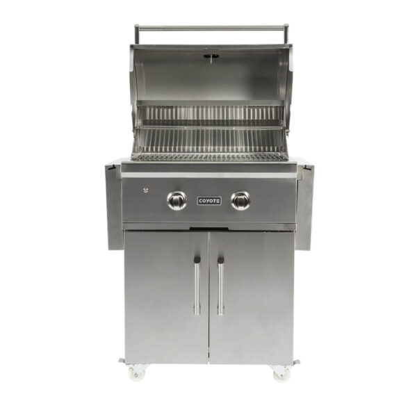 C1C28-FS Coyote Outdoor Living Freestanding C-Series 28 Inch Barbecue Grill and Cart - Open Grill Head