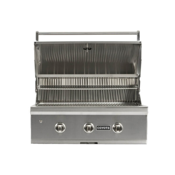 C1C34 Coyote Outdoor Living 34 Inch C-Series Built-in Barbecue Grill Head - Open