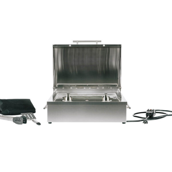 C1EL120SM Coyote Outdoor Living Single Burner 120v Electrical Grill - Open Grill Head with Cover and Tool Set