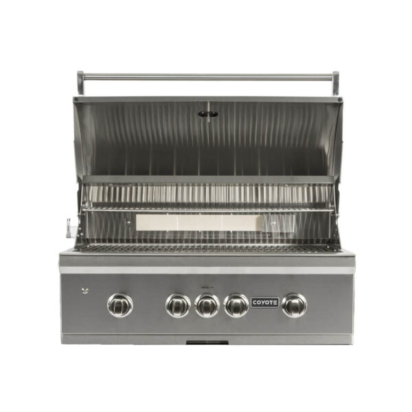 C1S36 Coyote Outdoor Living S-Series 36 Inch Built-in Barbecue Grill - Open