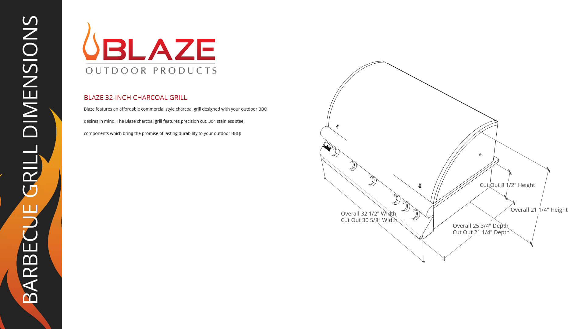 Blaze 32 Inch Charcoal Grill-Opt