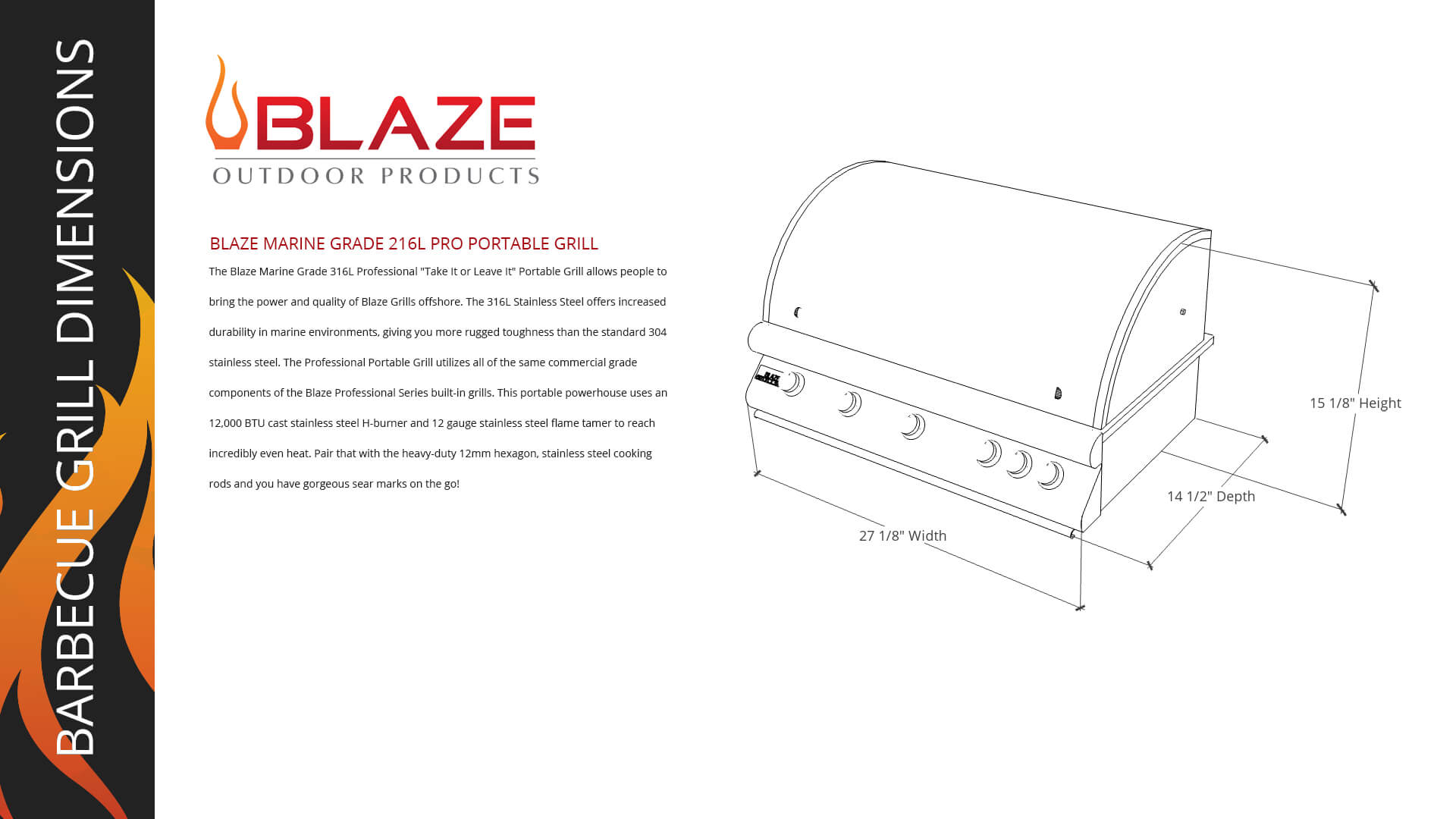 Blaze Marine Grade 316L Professional - Take It or Leave It - Portable Grill