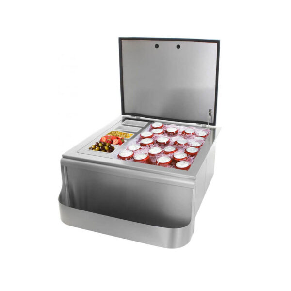 PCM 260 Series 25-Inch Slide-In Ice Bin Cooler With Speed Rail & Condiment Holder